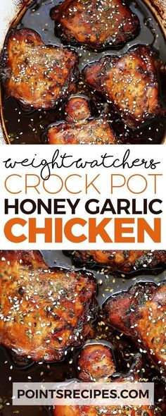 Easy crock pot recipe for chicken thighs cooked in an incredibly crock pot honey garlic chicken weight watchers forumfinder Images
