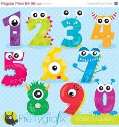 BUY 20 GET 10 OFF Monster numbers clipart, clipart commercial use, vector graphics, digital clip art, digital images - by Prettygrafikdesign Monster Party, Monster Birthday Parties, Fun Crafts, Crafts For Kids, Diy Craft Projects, Arts And Crafts, Monster Theme Classroom, Monster Clipart, Image Paper