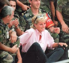 August 10, 1997: Diana, Princess of Wales meets children in an area of Sarajevo where this morning she met more land mine victims during her two day visit to Bosnia.