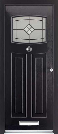 The Rockdoor Newark composite door with 12 colour options installed in Bournemouth, Poole, Christchurch, Wimborne & New Forest Front Door Porch, House Front Door, Front Porches, Entrance Doors, Patio Doors, Doorway, 1930s Doors, Art Nouveau, Black Front Doors