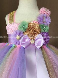 beautiful unicorn theme tutu dress in pastel colors with a