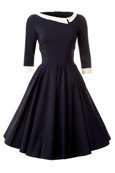 Navy Vintage Swing Dress. So ladylike.