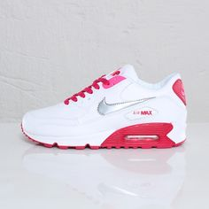 Not for me, but very nice nonetheless! Nike Air Max 90 GS – White / Metallic Silver – Voltage Cherry