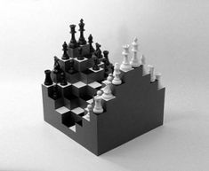 Echiquier 3D par Ji Lee  #chess #design #game #echec #black #white #3d
