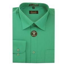7ca192b4d57 Amanti Men's Cotton Dress Shirt Long Sleeve Button Classic Collar Fit Solid  Color Size