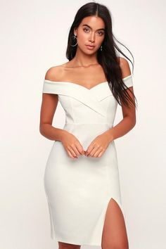 253a492d47d Classic Glam White Off-the-Shoulder Bodycon Dress - Lulus