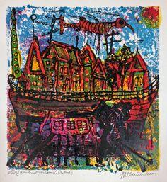 Expositie Jan van der Meulen 80 jaar bij Galerie Bax Kunst. Jan van der Meulen - Woonschip | Staaldruk 60 x 50 cm € 280,- | Tachtig schilderijen in de Galerie, Kunstencentrum Atrium & Theater Sneek | #art #contemporaryart #dutchartist #expo #Sneek #Baxkunst