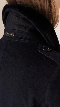 Navy Fur Trim Cashmere Military Coat - Image 4 Fur Trim, Trench, Jackets For 8956e4afd6c