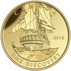 """Canada: HMS Discovery features on final """"Tall Ships Legacy"""" gold coin series Gold Eagle Coins, Gold And Silver Coins, Bullion Coins, Gold Bullion, Canadian Coins, Coin Design, Old Money, Canadian Artists, Rare Coins"""