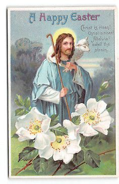 Easter-Christ-Religious-Shepherd-Lamb-Wild Roses-Possible Clapsaddle-Postcard