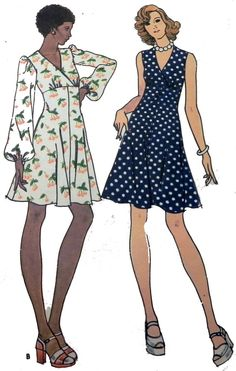 Butterick 3636 Retro 1970s High waisted dress by retroactivefuture