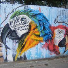 Sick graffiti in Bratislava, Slovakia. #outside #outdoors #park #color #colors #graffiti #birds #animals #animal #parrots - @jessbennet #webstagram