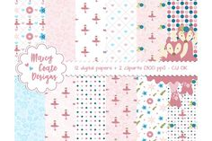 Pink Ballerina Fox papers & clipart by MarcyCoateDesigns on @creativemarket