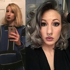 Before/After Ion Color Brilliance in Titanium. Diluted with conditioner and used Roux rinse in True Steel. LOvE this color  Granny Grey Silver Hair
