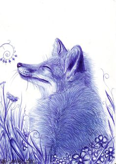 painted handle Fox in nature Biro Art, Ballpoint Pen Art, Fox Drawing, Ballpoint Pen Drawing, Ink Pen Drawings, Nature Drawing, Animal Drawings, Fox Illustration, Illustrations