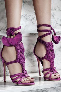 Elegant Purple Lace up Heel Sandals