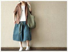 Flower   Long Sleeve  Linen  Loose  Cotton  Women Shirt