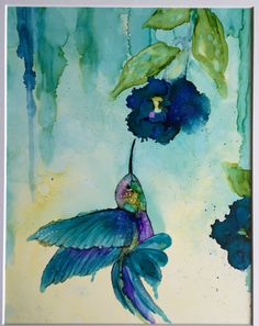 Blue flower Humming Bird, Alcohol ink on 11x14 Yupo paper by HeidiStavingaStudio on Etsy