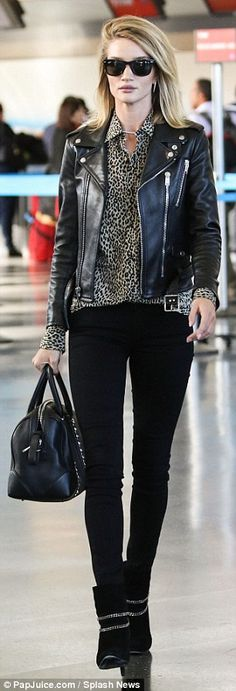 Va-va-vroom! Rosie Huntington-Whiteley goes for biker chic #dailymail