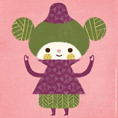 girl in purple sweater | flora chang, Happy Doodle Land