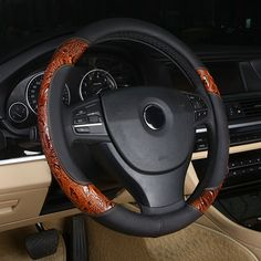 Racing Wood shavings Car Steering Wheel Cover set Leather Covers 36/38/40cm For BMW/Honda/AUDI/Ford/Toyota/volkswagen