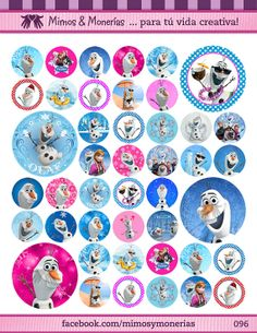 """Olaf Bottle Cap Images 1"""" - Digital Collage Sheet 8.5x11"""" - Hair Bow Centers, Magnets, Stickers and Crafts - INSTANT DOWNLOAD"""