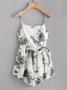 romwe floral print random knot open back cami romper - ador Little Dresses, Cute Dresses, Casual Dresses, Casual Outfits, Cute Summer Outfits, Pretty Outfits, Cute Outfits, Summer Dresses, Jw Mode