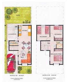 Planos de casas y plantas arquitectónicas de distribución de interiores de casas y departamentos  para tomar ideas para remodelar o construir tu vivienda. Tiny House, Floor Plans, House Design, Flooring, How To Plan, Architecture, Projects, Home, Layouts
