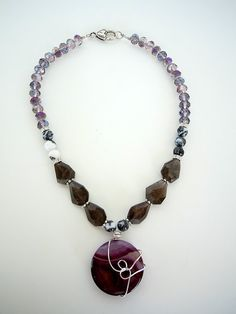 Wire Wrapped Purple Stone Pendant Necklace by by DebbieRenee, $45.00