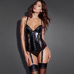 Black Red Hot Women Sexy Lace High Quanlity Leather Vinyl Lingerie Dress Attached Garters Corset Sexy Solid Sets W850571
