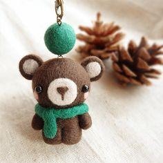 Needle Felted Felting Animals Scarf Bear Cute Craft   Feltify
