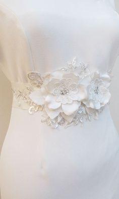 Ivory Beaded Flower Belt Bridal Wedding Sash Bridal Light Ivory- Off white 3D Applique on Etsy, $45.00