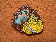 Belle Disney Pin - Princess Starter Set - Wearing Yellow Dress - Front of Castle