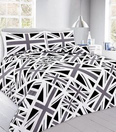 Union Jack Black Printed Duvet Quilt Cover Bedding Set — Linens Range