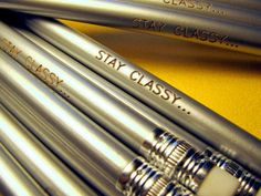 Silver Stay Classy engraved pencil set by Earmark Social >> Super fun!