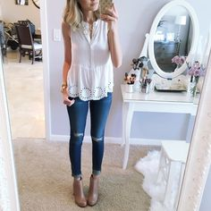 """Jade (A Spoonful of Style) on Instagram: """"I love everything about this top especially because it is only $27! And I wish you could see the heel on these boots! @liketoknow.it www.liketk.it/1GuYM #liketkit #ootd #wiwt #selfie #ankleboots details are also listed on my blog in today's post """""""