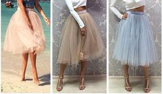 Beige turquoise blue peach Tulle Skirt  Blue by MyStylishFantasy