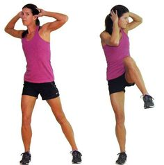 This One Hour Cardio and Strength Workout Will Leave You Breathless: Standing Crossover Crunch