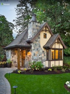 European Manor Home Tour Tiny House- 18 Cute Small Houses That Look So Peaceful. Potential playhouse for future grandchildrenTiny House- 18 Cute Small Houses That Look So Peaceful. Potential playhouse for future grandchildren Cottage House Designs, Small Cottage House Plans, Style Cottage, Small Cottage Homes, Small Cottages, French Country Cottage, Tiny House Plans, Tiny House Design, Cozy Cottage