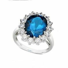 925 STERLING SILVER LONDON BLUE TOPAZ AND WHITE TOPAZ RING size 6