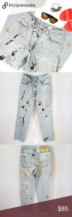 """MAKE AN OFFER VTG Distressed 512 Levi's Mom Jeans ✴20% OFF BUNDLES OF 3 OR MORE✴ •VINTAGE• Totally One-of-a-kind distressing and paint splatter!! Slim fit Straight leg Light wash 100% cotton  Made in USA  Size 10 petite Approximate Measurements: 30.5"""" waist  42"""" Full hip  11"""" rise  27.5"""" inseam   PLEASE READ CLOSET INFO AND POLICIES POST Levi's Jeans"""