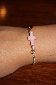 Pink Mother of pearl cross w/ silver bracelet by KnotJustBracelets, $12.00