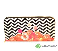 "Artist Designed Purse with credit card and zipper coin comparment ""Chevron Flora II"" stylish, unique, colourful vegan leather purse"