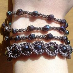 "Crochet Jewelry, Bohemian Bracelet, Dark Browns and Purple ""Gypsy Delight"" - adjustable"
