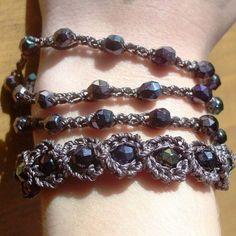 """Crochet Jewelry, Bohemian Bracelet, Dark Browns and Purple """"Gypsy Delight"""" - adjustable Bohemian Bracelets, Bohemian Jewelry, Handmade Bracelets, Fashion Bracelets, Beaded Jewelry, Handmade Jewelry, Bracelet Crochet, Beaded Bracelet Patterns, Bead Crochet"""