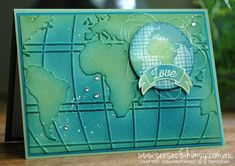 handmade Going Global Love Card ... luv how she sponged the colors on the embossing folder background ... Stampin' Up!