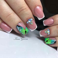 Fancy Nails, Trendy Nails, Cute Nails, Nails & Co, Neon Nails, Short Nail Manicure, Diy Acrylic Nails, Butterfly Nail Art, Spring Nail Art