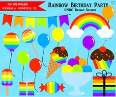 60% OFF SALE - Rainbow Clip Art - Rainbow Birthday Party Clip Art - Digital Rainbow Clipart