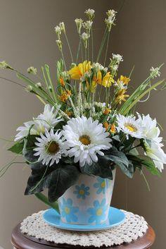 Spring Floral Arrangement  Cup and Saucer