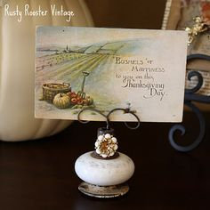 old door knobs made into card/photo holders